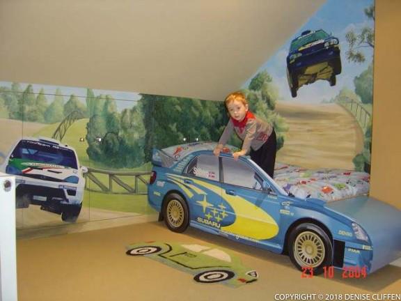 Rally Car Mural and Painted Subaru Impreza bed