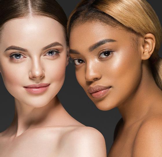 Women portrait mix races black skin and