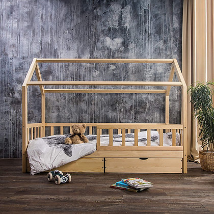 #MYFIRSTHOUSE kids bed with drawers in natural