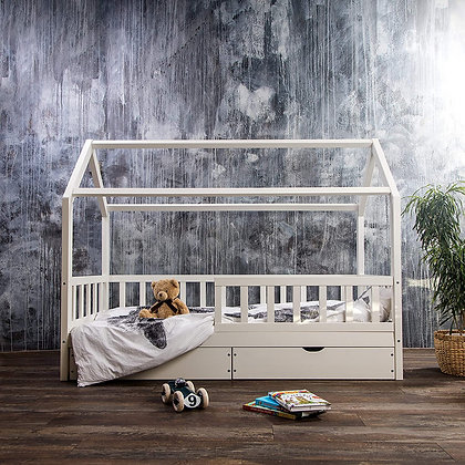 #MYFIRSTHOUSE kids bed with drawers in white