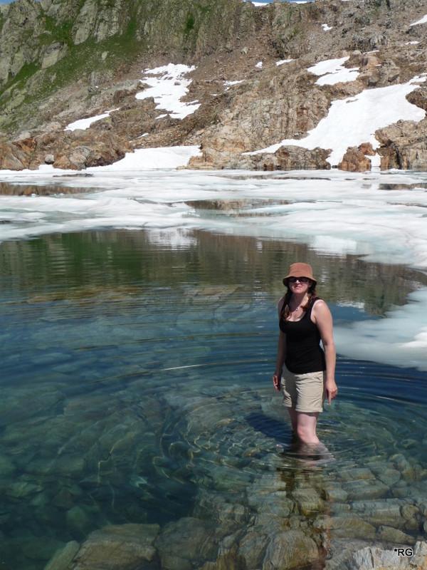 Paddling in Lac Noir, Chamonix, still semi frozen