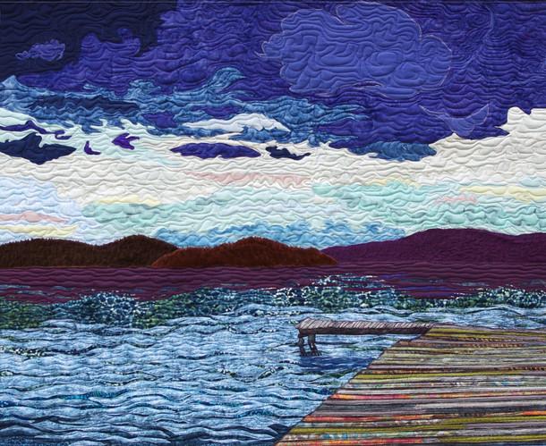"""The Dock on Reindeer Lake"", 2016. Hilary Johnstone. 52"" x 45"", fabric, thread, batting."