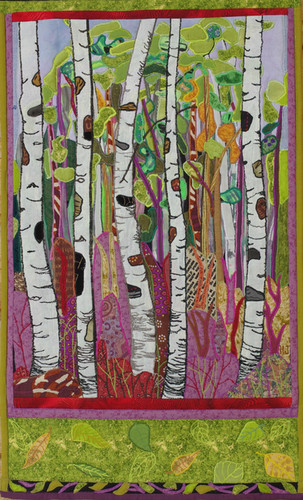 """Spruce River Highlands"" 2010. Hilary Johnstone 16"" x 27"", fabric,thread, batting. (Can be purchased through Handmade House Gallery, Saskatoon, SK)."