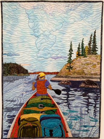 """""""Time to Look for a Camp"""", 2020. Hilary Johnstone, 22"""" x 30"""", fabric, thread, batting."""