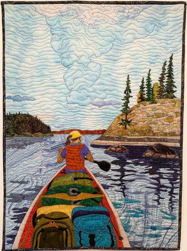 """""""Time to Look for a Camp"""", 2020. Hilary Johnstone, 22"""" x 30"""", fabric, thread, batting. (Can be purchased through Handmade House Gallery, Saskatoon. SK.)"""