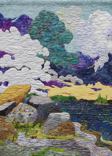 """""""Nut Bay Island, Clouds Rising"""" 2016. Hilary Johnstone. 43"""" x 59"""", fabric, thread, batting."""