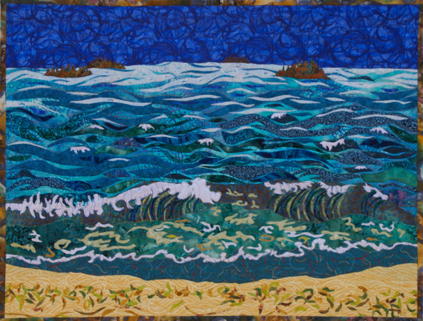 """""""Waves, Napatak Beach"""" 2016.Hilary Johnstone. 36"""" x 28"""", fabric, thread, batting. Private collection."""