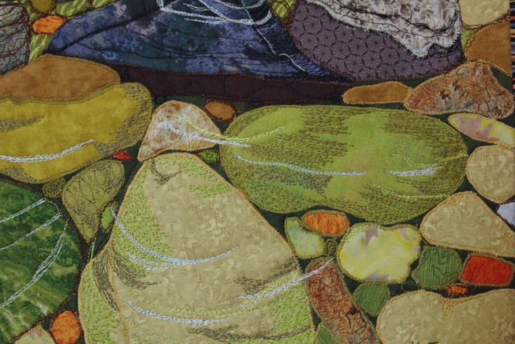 """Detail from """"Underwater Rocks and Sweet Gale""""."""