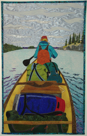 """""""Heading Out"""" 2020 Hilary Johnstone. 17"""" x 27"""", fabric, thread, batting. Private collection."""