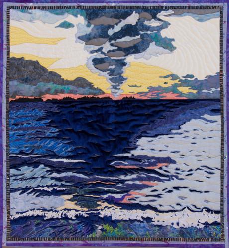 """Sunrise, Lac La Ronge"" 2015. Hilary Johnstone. 32"" x 36.5"", fabric, thread,batting. CAn be purchased through HAndmade House Gallery, Saskatoon, SK."