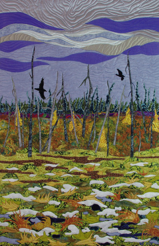 """""""Early Snow in the Muskeg"""" 2017. Hilary Johnstone. 26"""" x 39"""", fabric, thread,batting. Collection of The Mann Art Gallery, Prince Albert, SK."""