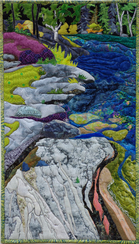"""""""Nut Point Shoreline"""" 2014. Hilary Johnstone. 16"""" x 28"""", fabric, thread, batting. Private collection."""