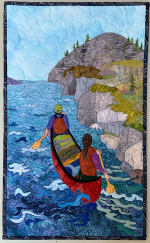 """""""Through the Fast Water"""" 2021, Hilary Johnstone. 13"""" w x 21"""" h. Fabric, thread, batting. (Can be purchased through the Handmade House Gallery, Saskatoon, SK.)"""