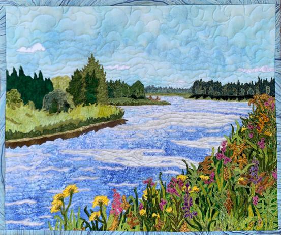 """Hay River"", Hilary Johnstone, 2021. 21"" x 17"" fabric, thread, batting. (sold)"