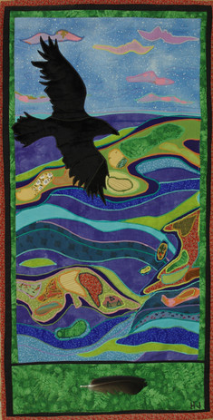 """""""Raven's View"""" 2009, Hilary Johnstone. 16"""" x 31"""", fabric, raven's feather, thread, batting. Collection of the artist."""