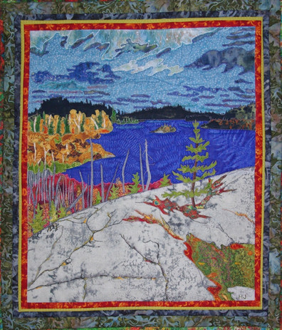 """""""Downton Lake Lookout"""" 2013, Hilary Johnstone. 20"""" x 13"""", fabric, thread, batting. Private collection."""