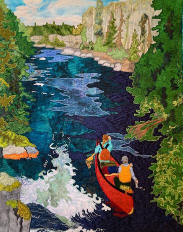 """Badwater River"" 2021. Hilary Johnstone, 16"" x 20"" fabric, thread, batting."