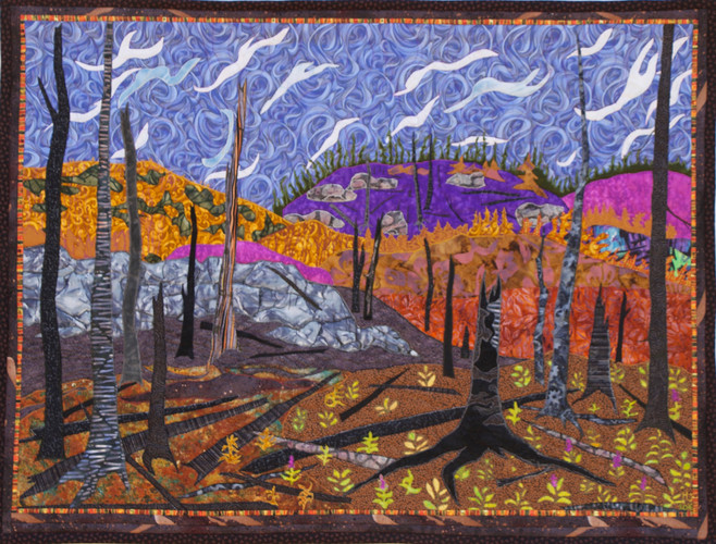 """""""After the Eli Fire, La Ronge"""" 2016. Hilary Johnstone. 39"""" x 30"""", fabric, thread, batting. Collection of the artist."""