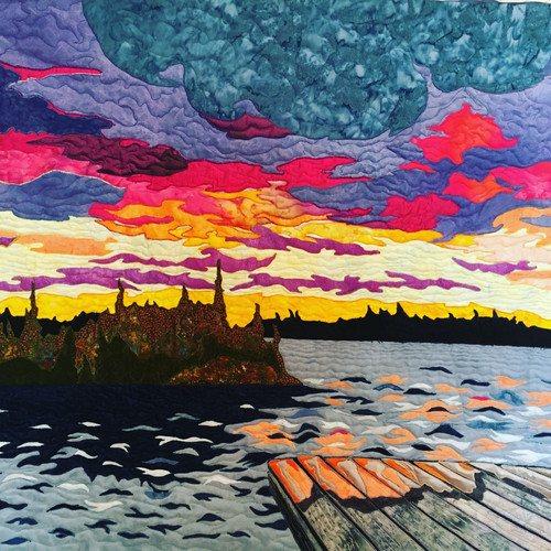 """""""Sunset, Air Ronge"""" 2017. Hilary Johnstone. 39"""" x 30"""", fabric, thread,batting. Private collection."""