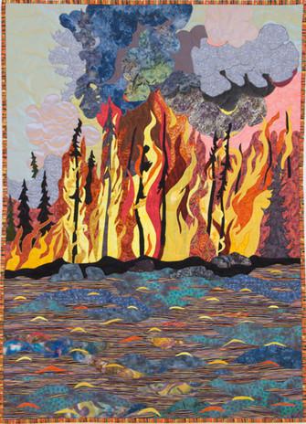 """Fire on the Water"" 2016. Hilary Johnstone. 37"" x 51"", fabric, thread, batting."