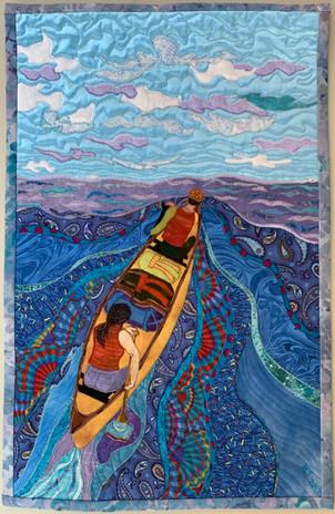 """Yellow Canoe"" 2017 Hilary Johnstone. 15.5"" w x 24""h, fabric, thread, batting."