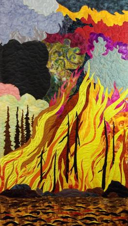 """Island on Fire"" 2016 Hilary Johnstone. 33"" x 57"", fabric, thread, batting."