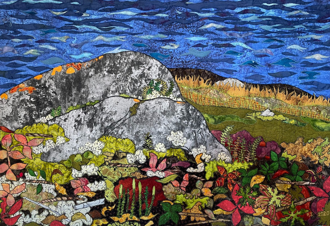 """""""Coltsfoot and Club Moss"""" 2020. Hilary Johnstone. 28"""" x 19"""". Fabric, thread, batting. Sold."""
