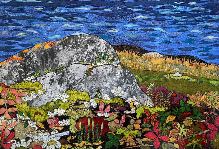"""""""Coltsfoot and Club Moss"""" 2020. Hilary Johnstone. 28"""" x 19"""". Fabric, thread, batting. Not for sale."""