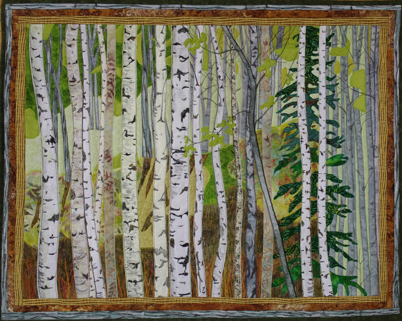 """""""In the Greenwood"""" 2013. Hilary Johnstone. 28"""" x 22"""", fabric, thread, batting. Private collection."""