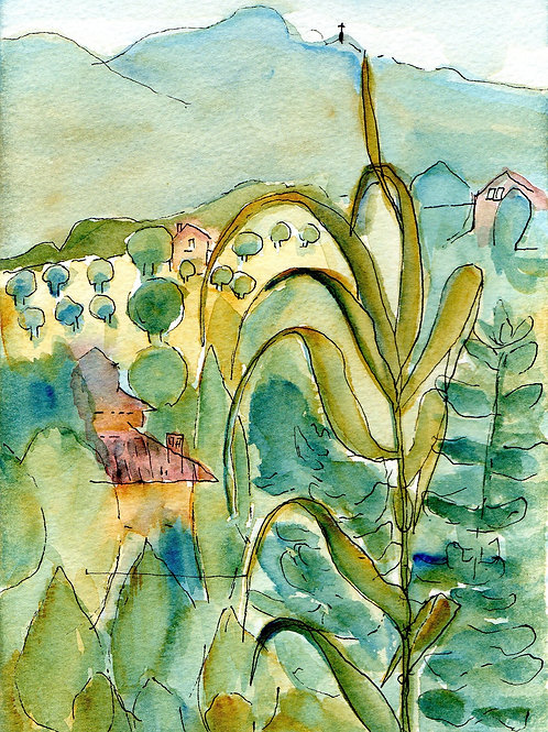 Two Note Cards - Tuscany Watercolours
