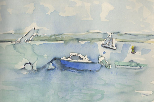 Two Note Cards - Yachts at Arcachon
