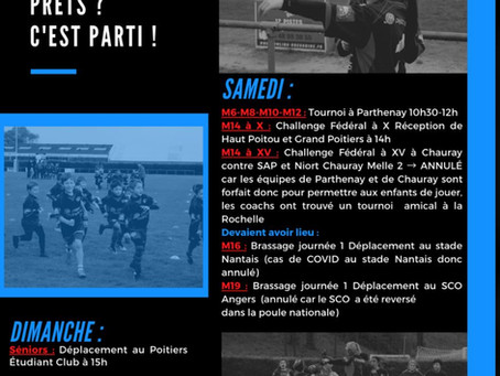 Programme du week-end du 10/11 Octobre