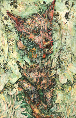 Dog Emerges from Brush