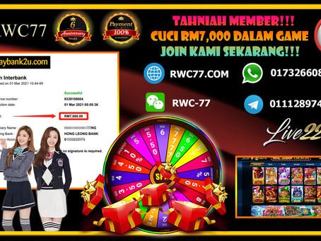 Tahniah member cuci RM7,000 dalam game LIVE22!! Join Kami dengan MIN DEPOSIT RM30 untuk Menang!!!!