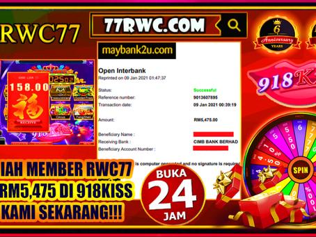 恭喜RWC77 的成员在918Kiss洗RM5,475! 旺呀!!快来成为下一个幸运者!