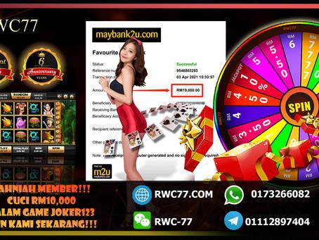 Tahniah member masuk RM500 cuci RM10,000 dalam JOKER123!!! Min deposit RM30!! Join Us Now!!!