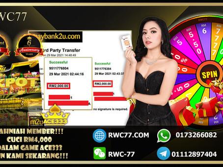 Tahniah member cuci RM4,000 dalam ACE333!!! Deposit RM100 sahaja!!! Join Kami Sekarang menang sekali