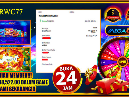 Congratulations RWC77 member withdraw RM8,522 inside MEGA888!!! JOIN US NOW!!!
