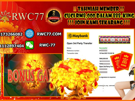 Congratulation RWC77 member get withdraw RM8,000 inside 888KING!!! JOIN US NOW!!!!
