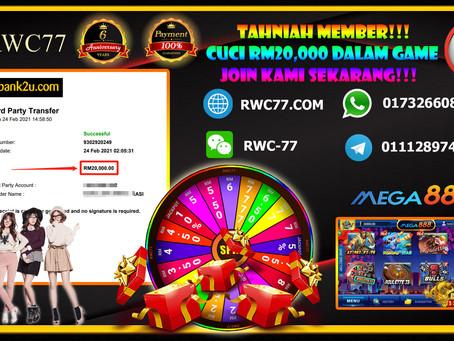 Tahniah member cuci RM20,000 dalam MEGA888!! JOIN KAMI SEAKRANG MENANG BESAR SEKALI!!!!!!