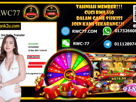 Congratulation RWC77 member withdraw RM9,550 inside 918KISS(SCR2) Deposit RM1200 withdraw RM9,550!!!