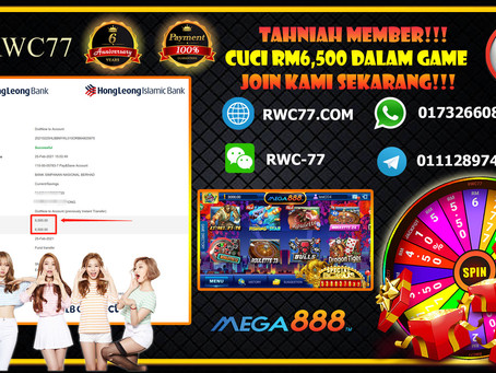 Tahniah member cuci RM6,500 dalam game MEGA888!!! Join Kami Sekarang!!!! Min deposit RM30 !!