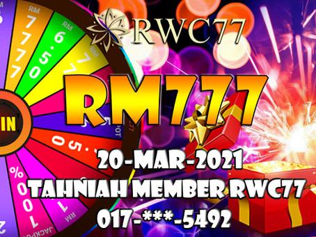 恭喜RWC77会员在幸运旋转里成功得到MYR777 快成为我们的会员一起赢得更多的奖金!!