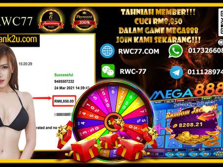 Tahniah member deposit RM250 cuci RM8,850 dalam MEGA888!!!! Join Kami Sekarang MENANG sekali!!!!!