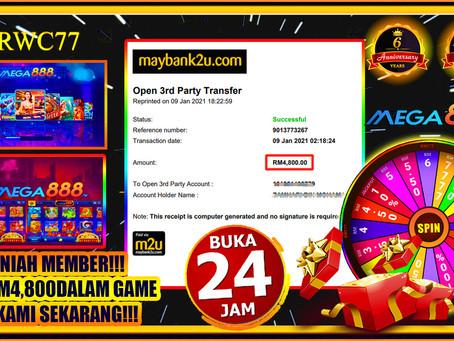 Tahniah member cuci RM4,800 dalam MEGA888!!! JOIN KAMI DAN MENANG!!! Min DEPOSIT RM30!!!