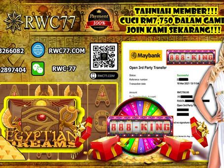 Tahniah member cuci RM7,750 dalam 888KING!!! Game terbaru dan terhangat!! Join Kami Sekarang!!!