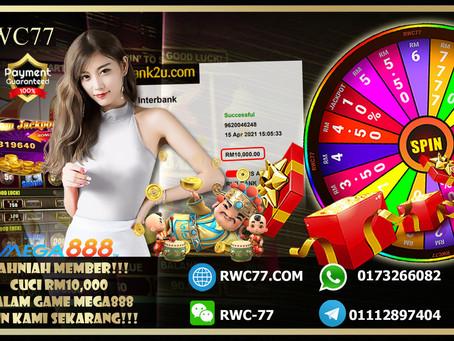 恭喜RWC77 幸运会员成功在 MEGA888提款RM10,000 快来加入我们一起赢的丰富的奖品以及奖金!!!