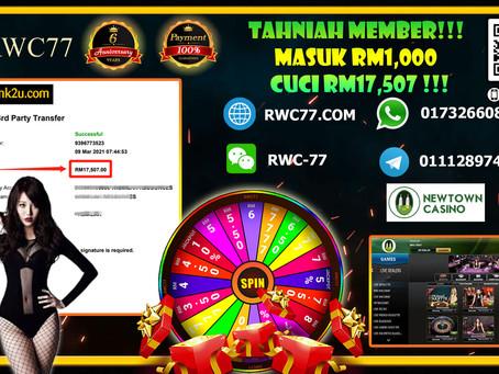 Tahniah RWC77 MEMBER CUCI BESAR DALAM NEWTOWN!!! Deposit : RM1,000 Cuci : RM17,507 Game : ROULETTE