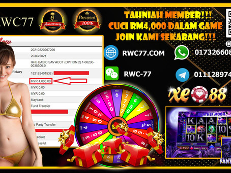 Tahniah member RWC77 Deposit RM100 Cuci RM4,000!!! Join Kami Sekarang dengan min deposit RM30!!!