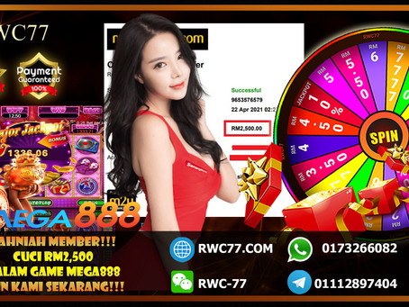 Congratulations RWC77 member withdraw RM2,500 inside MEGA888!!! Join Us Now And Win CASH!!!!!
